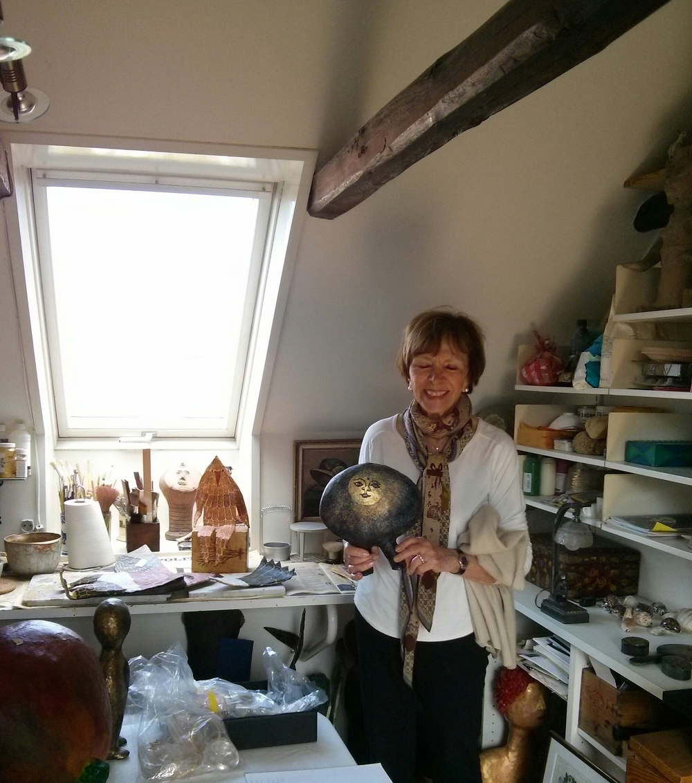 anne ammitzboel in her studio. she still comes up with new design  projects, and always did and always will.