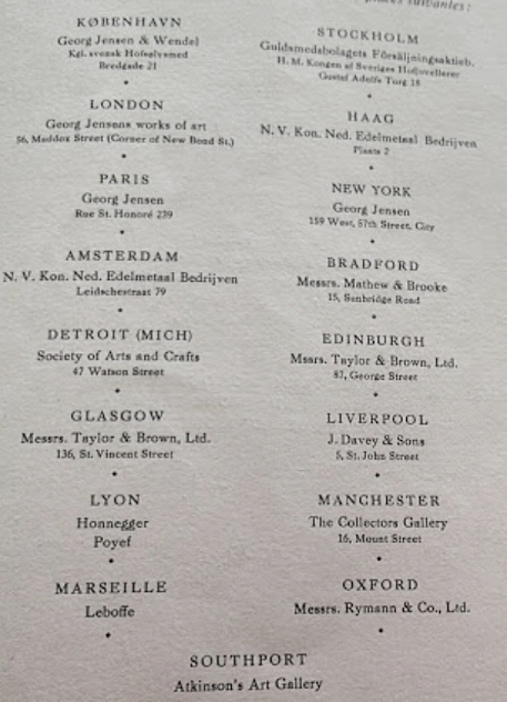 Georg Jensen's works are sold in the following places: