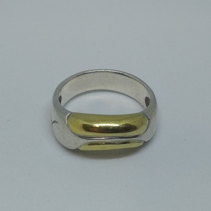 VINTAGE GEORG JENSEN RING 347 STERLING SILVER WITH GOLD DESIGN