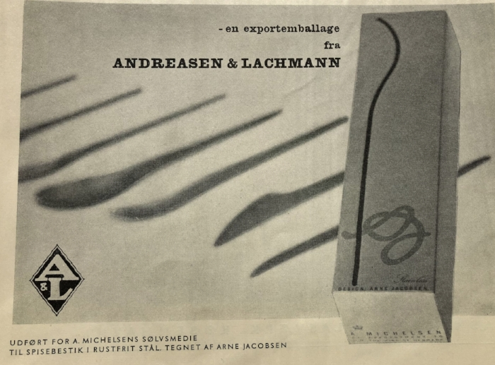 the boxes for the arne jacobsen stainless steel flatware, was produced by andreasen & lachmann for a. michelsen silversmithy.  mentioned in dansk kunsthåndværk, 9-10 year 1958