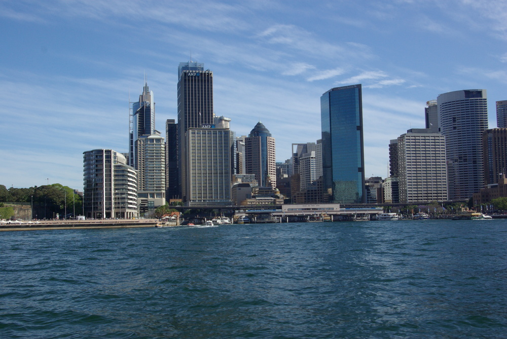 Part of the Sydney skyline as seen from the harbor