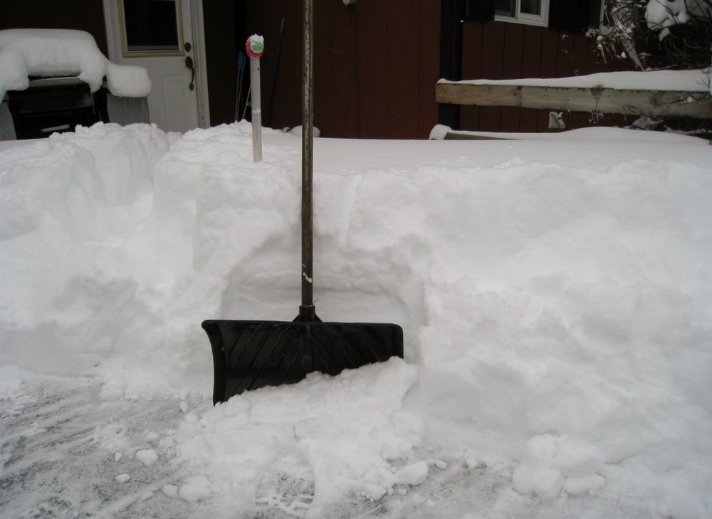 An attempt to illustrate how deep the snow was. The shovel is for scale.