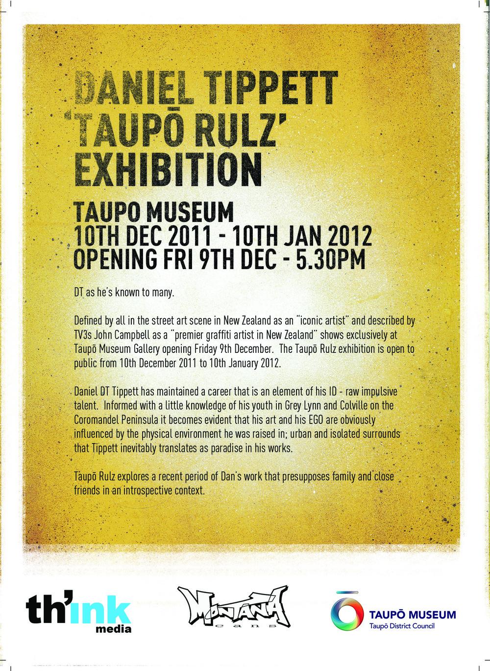 Daniel Tippett >> 'Taupō Rulz' Opening December 9
