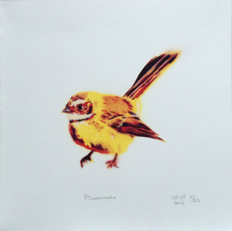 Piwakawaka, HAHA 2014 ; limited edition of 25. 200mm x 200mm ; 6 layer stencil aerosol (Montana) on fine art paper