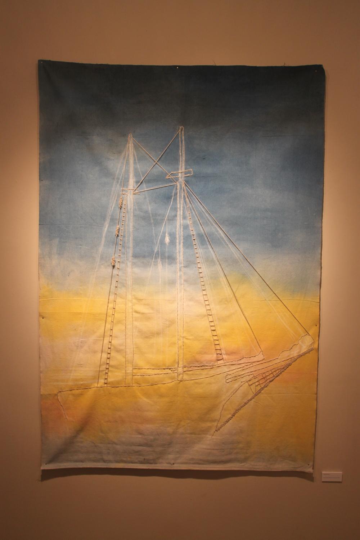 Dream Always - Housepaint, Chalk & Wool Yarn on Canvas Dropcloth