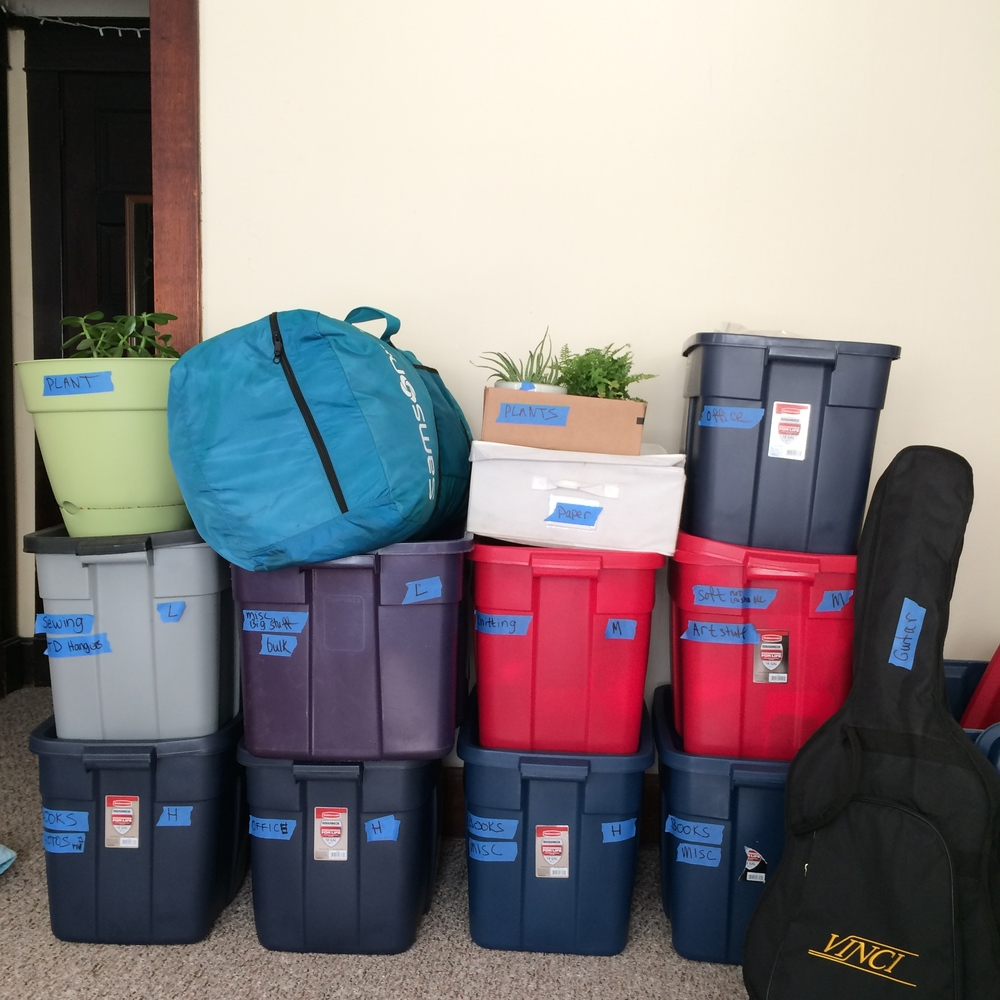 Packing up! Love Rubbermaid Roughneck bins