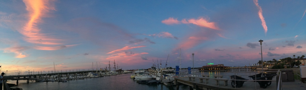 Sunset at the St. Augustine Marina... can you see the  Schooner Freedom ?