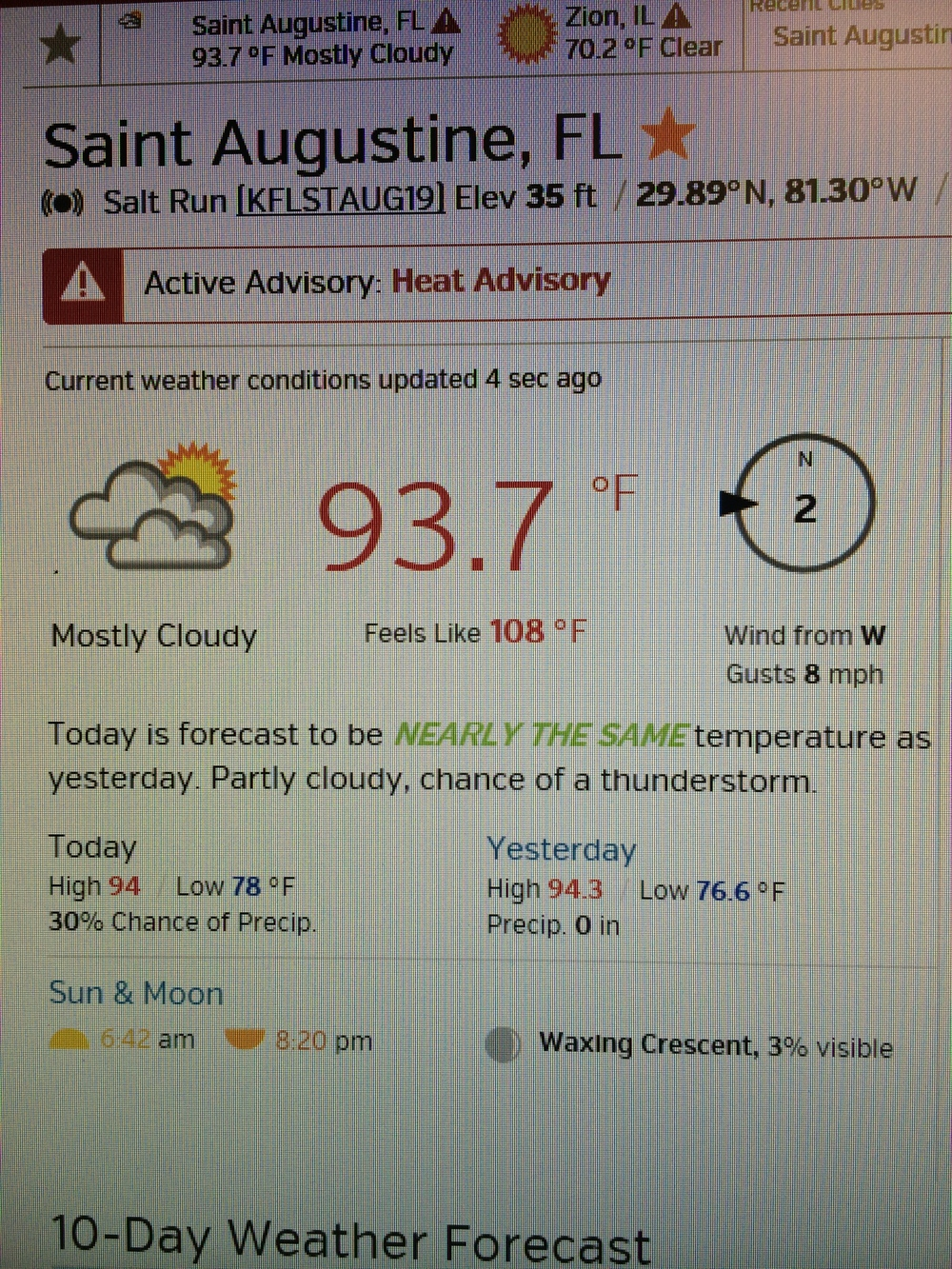 Yes, that says feels like 108. Pretty sure it felt like 120 though.