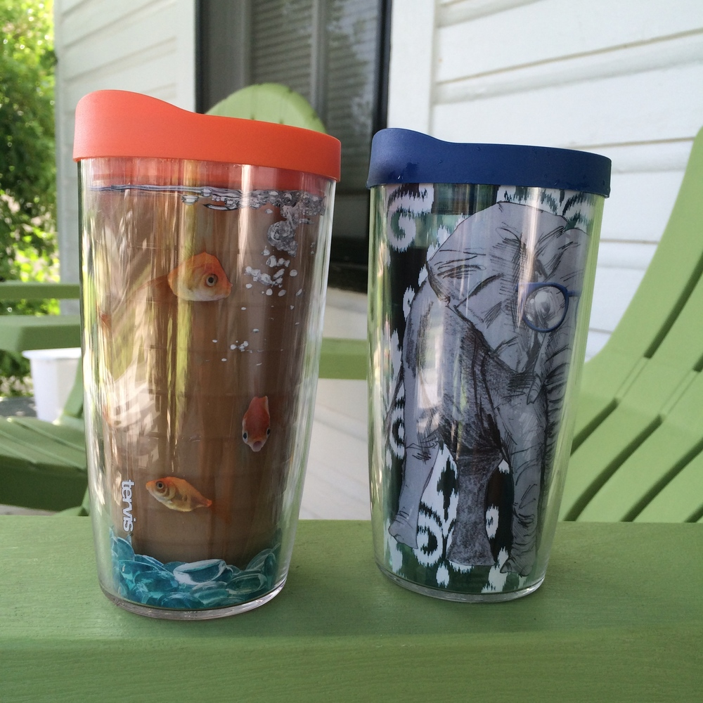 JB didn't want to go in the Tervis store... and then he found a cup with an elephant in glasses and decided it was cool there.