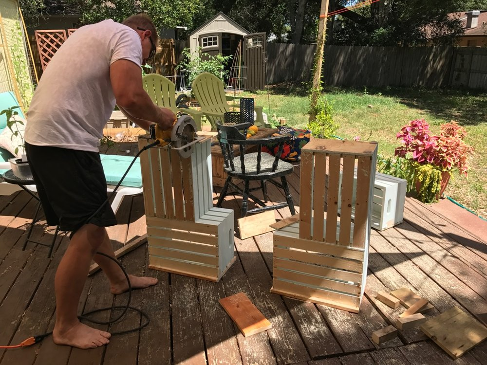 Hubby chops the crates apart!