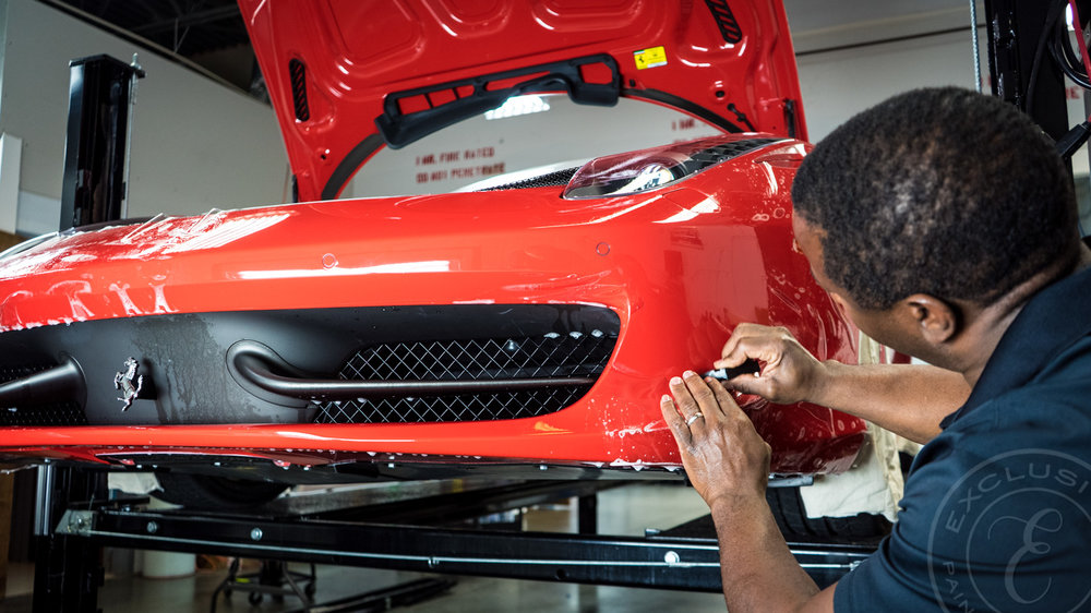 Paint Protection Film application to the front bumper of a Ferrari 458 Italia