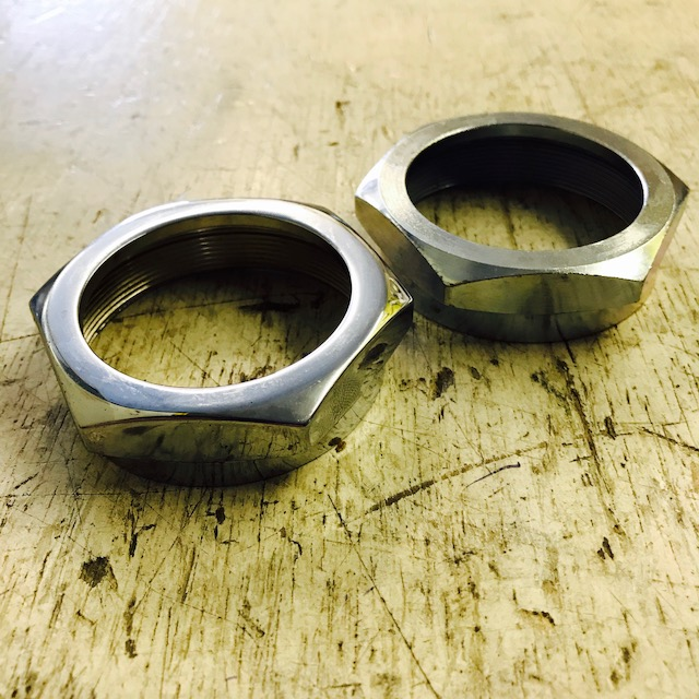 Exhaust nut, zinc or chrome plated