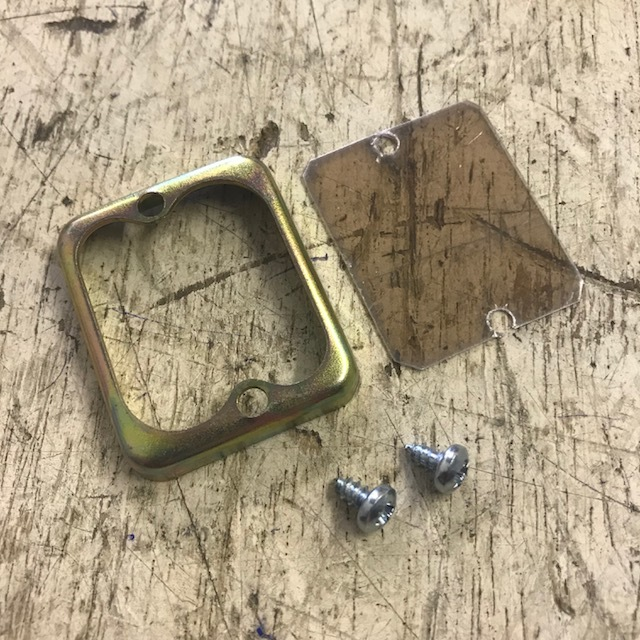 Sight glass, frame and screws