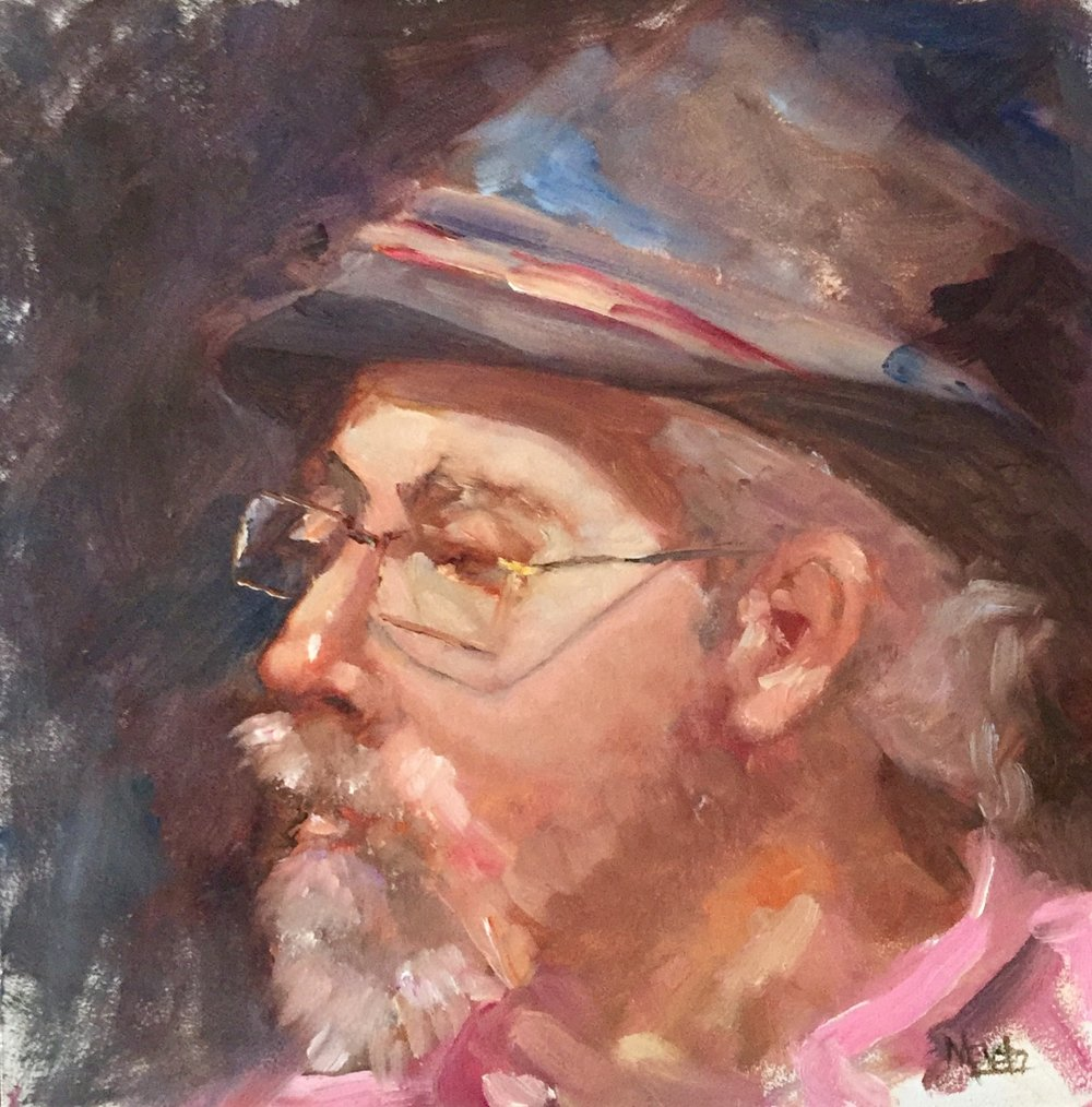 Pink Shirt 12x12 Oil on Board
