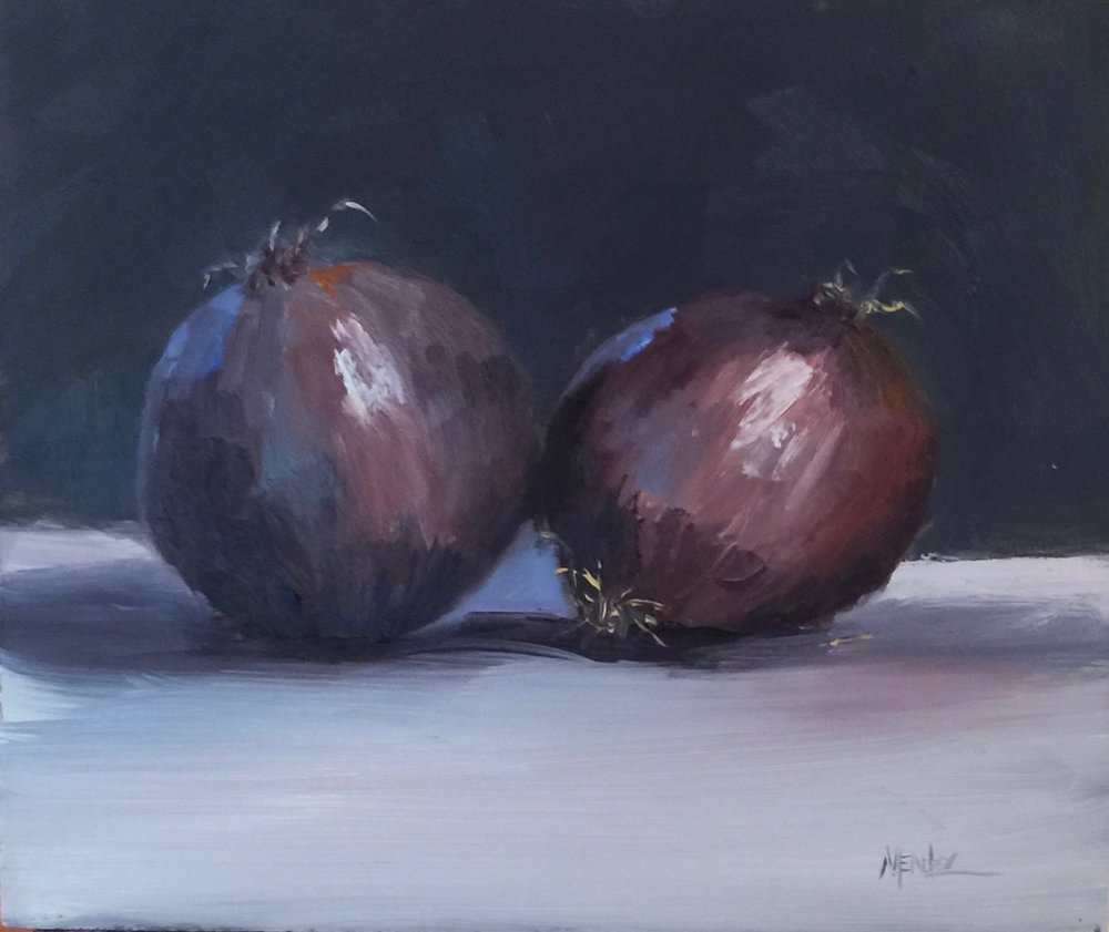 Purple Onions 9x10 oil on board
