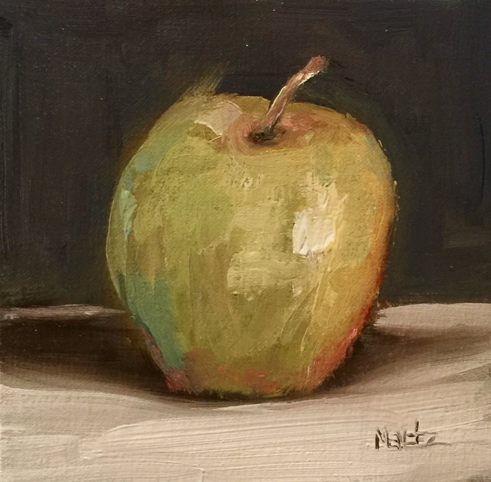 Apple 6.5x6.5 oil on linen