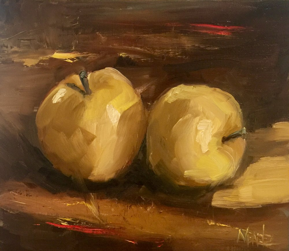 """Yellow and Umber"" 9x10 oil on panel"