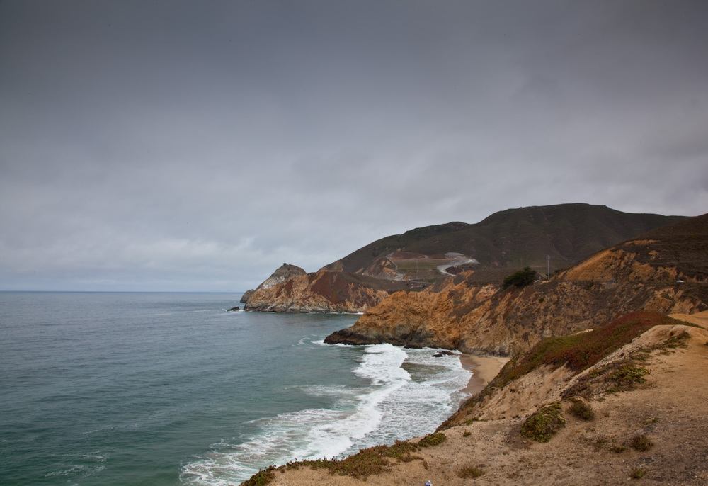 Mid day, on a cloudy afternoon, the beach under Devil's slide on Highway One, Pacific Coast.
