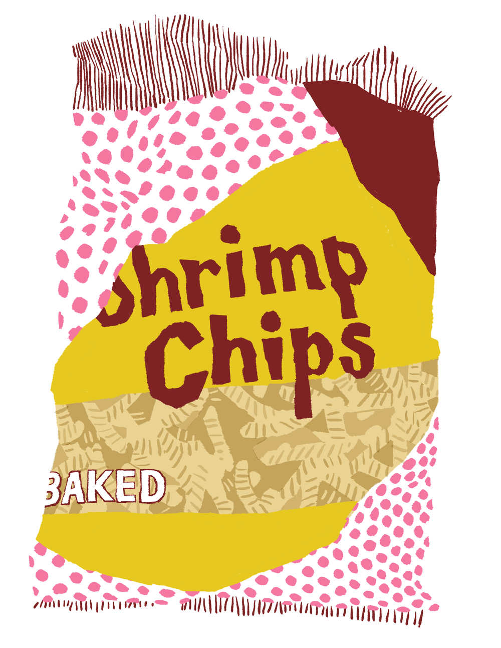 I didn't have any fruit around to draw but I did have an empty Shrimp Chip bag.