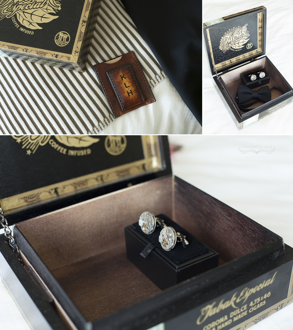 Michael works for a watch company . . . these cuff links are such a cool, personal detail of his ensemble!