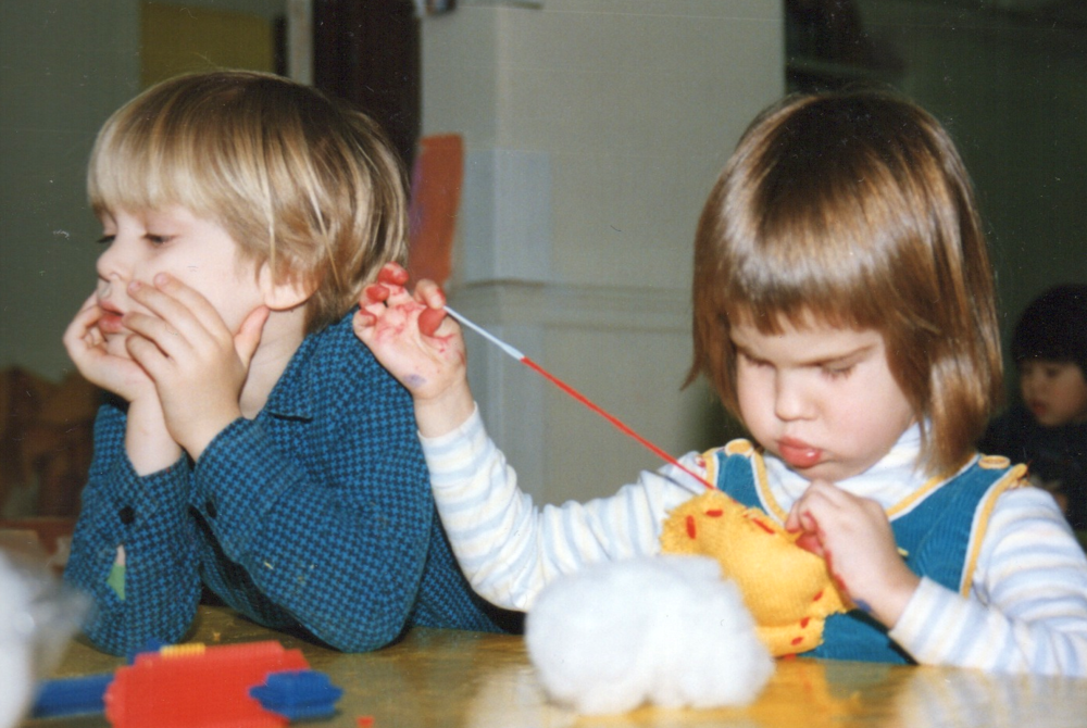 Here I am in nursery school, sewing a pillow as chubby as my cheeks!