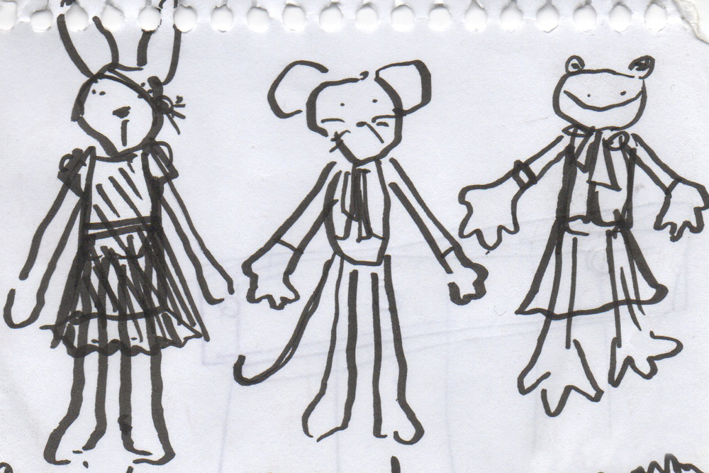 Early sketches for Hazel Village animals