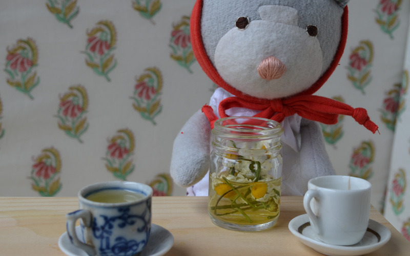 Finally their tea was ready. Gracie poured it into cups, making sure not to pour in too many flower bits.