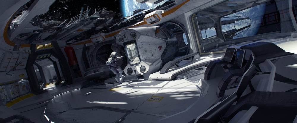 this began as an early concept for the game 'Adr1ft'. Once the project moved in a different direction, the piece took on a story of its own. It isn't meant to convey realism, not completely anyway - just partial realism. Instead I focused on clearly defined shapes, solid blocks of bright color (inspired by 2001), and an easily discernible story. I regard the composition as the strongest feature of this image, as opposed to the individual pieces of design work found within.