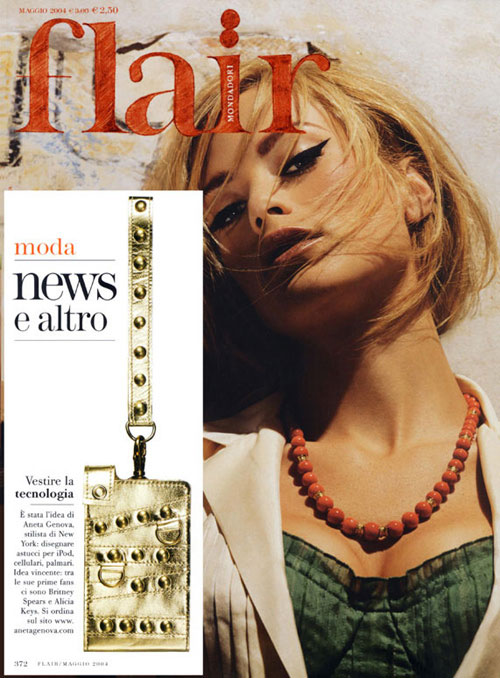 An Aneta Genova iPod case featured in the Italian fashion magazine Flair