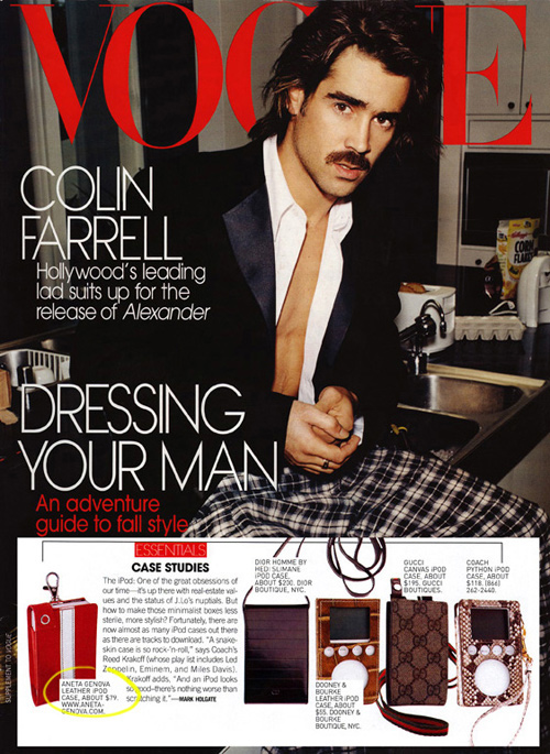An Aneta Genova iPod case featured in Men's Vogue