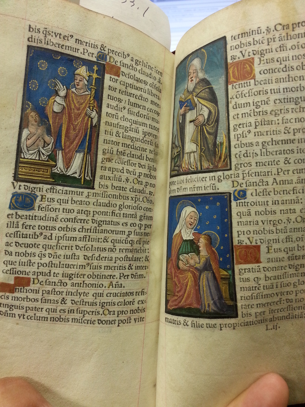 """St. Eligius"" (left), ""St. Lawrence"" (right, top), Unknown Saint (right, bottom).  Livres des Heures  .  Germain Hardouin. 1533"