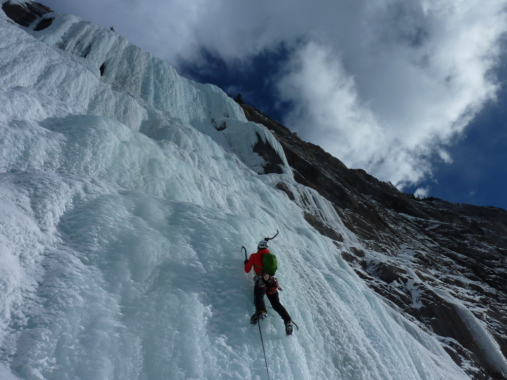 Nicolas Frazee enjoying perfect conditions on the Weeping Wall, Columbia Icefield Parkway, Canadian Rockies. Photo: Brian Mullvihill