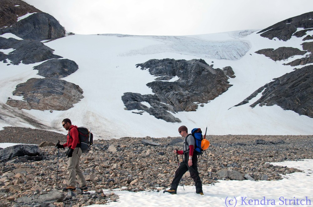 Brent and partner hiking up Boundary Glacier in the Black Spider Hoody, heading up to The Shield to gain access to A2, one of the satellite peaks of Mt Athabasca