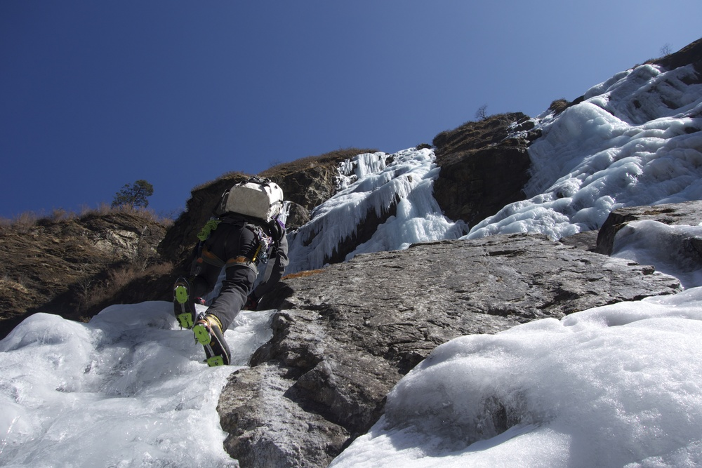 Bud Martin approaches our first ascent.