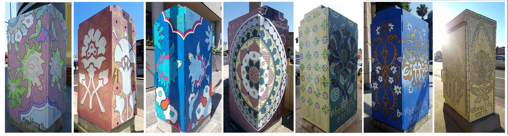 """Painted utility boxes 72"""" x 33"""" x 24"""" Commissioned by the City Council to celebrate the Persian community of Westwood Westwood Blvd, Los Angeles, CA"""