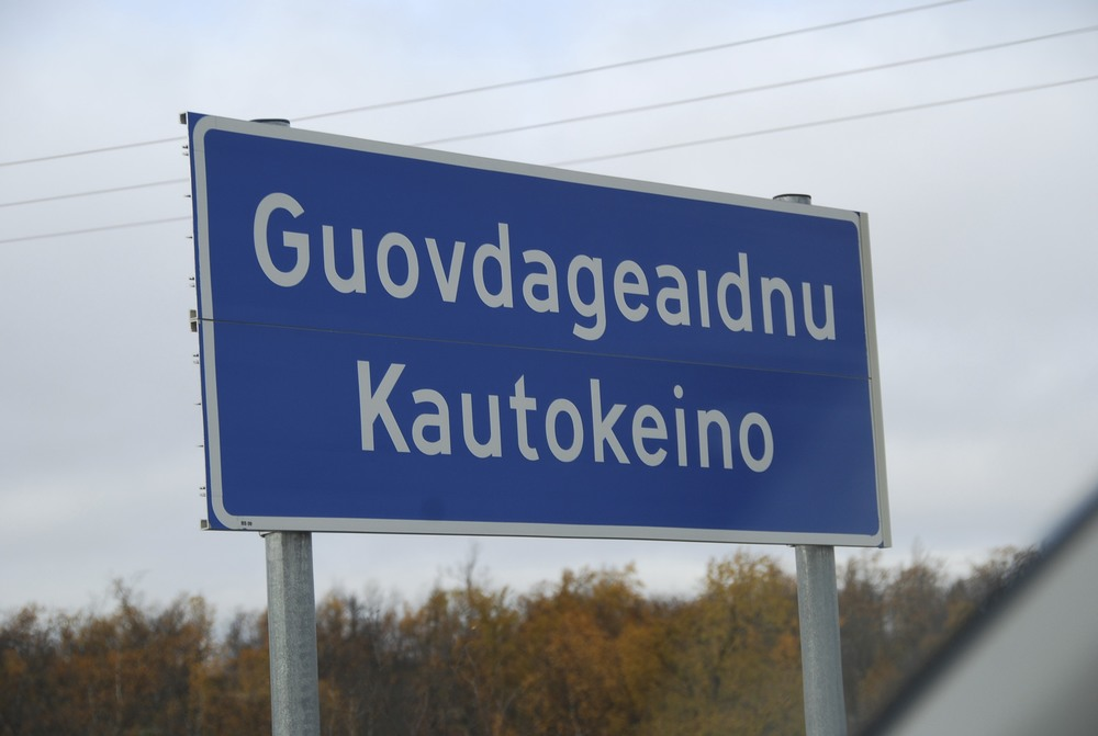 Kautokeino road sign in both Sámi and Norwegian