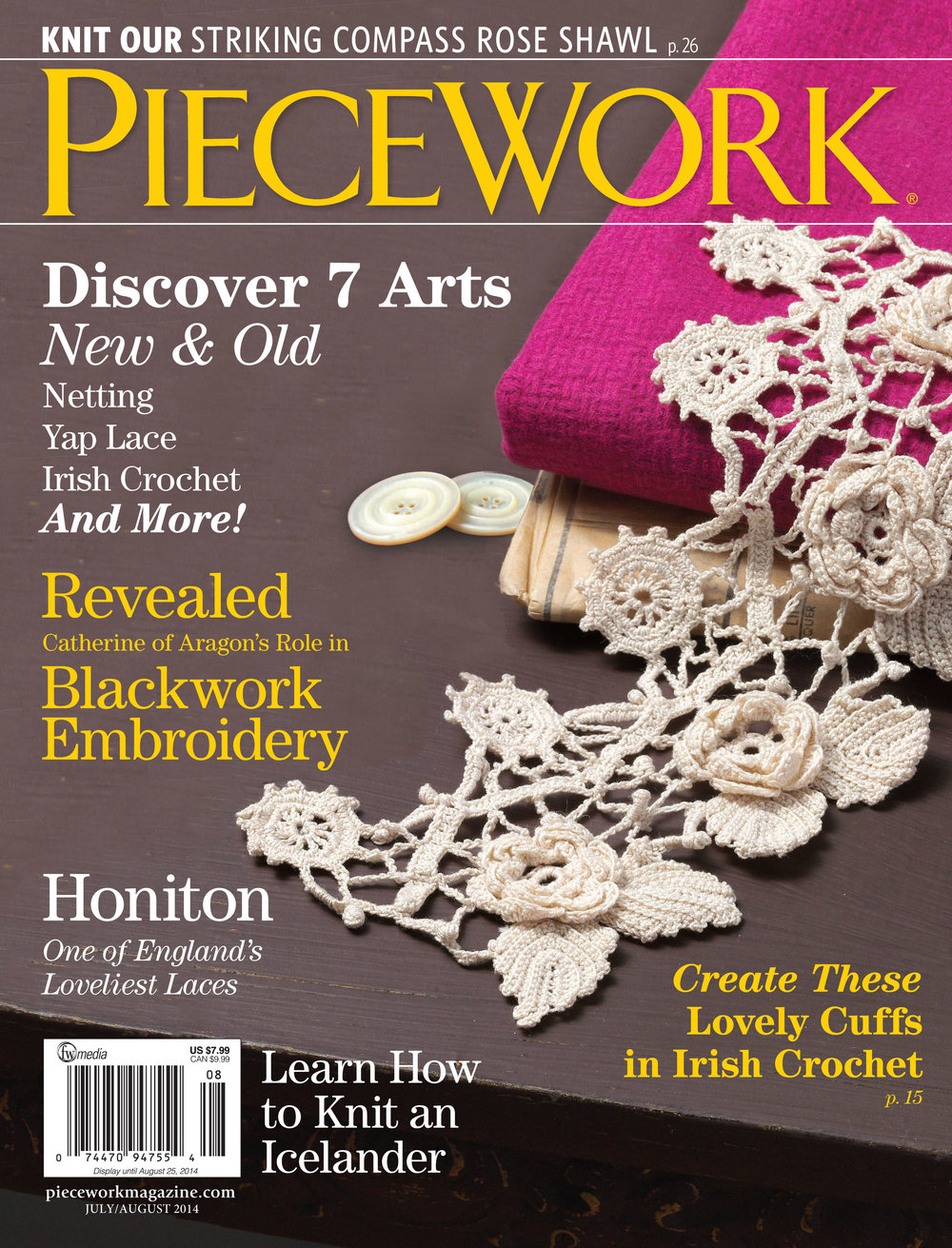 PieceWork July/Aug 2014 cover, my Irish Crochet cuffs
