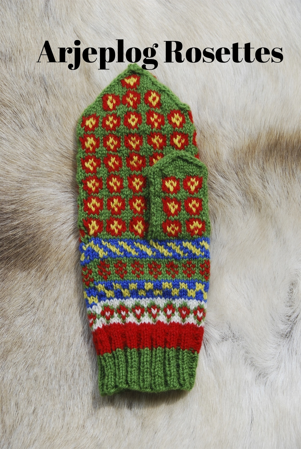 Arjeplog Rosettes, Swedish Sámi Knitted Mittens