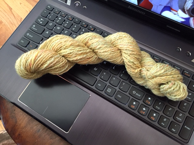 a merino/tencel blend, two-ply yarn
