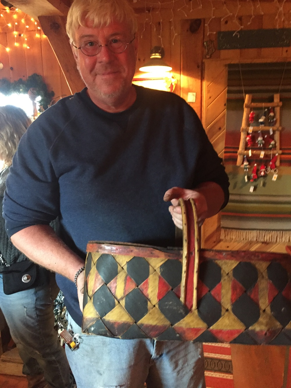 Brad and an antique, Finnish lunch basket for the former train workers.