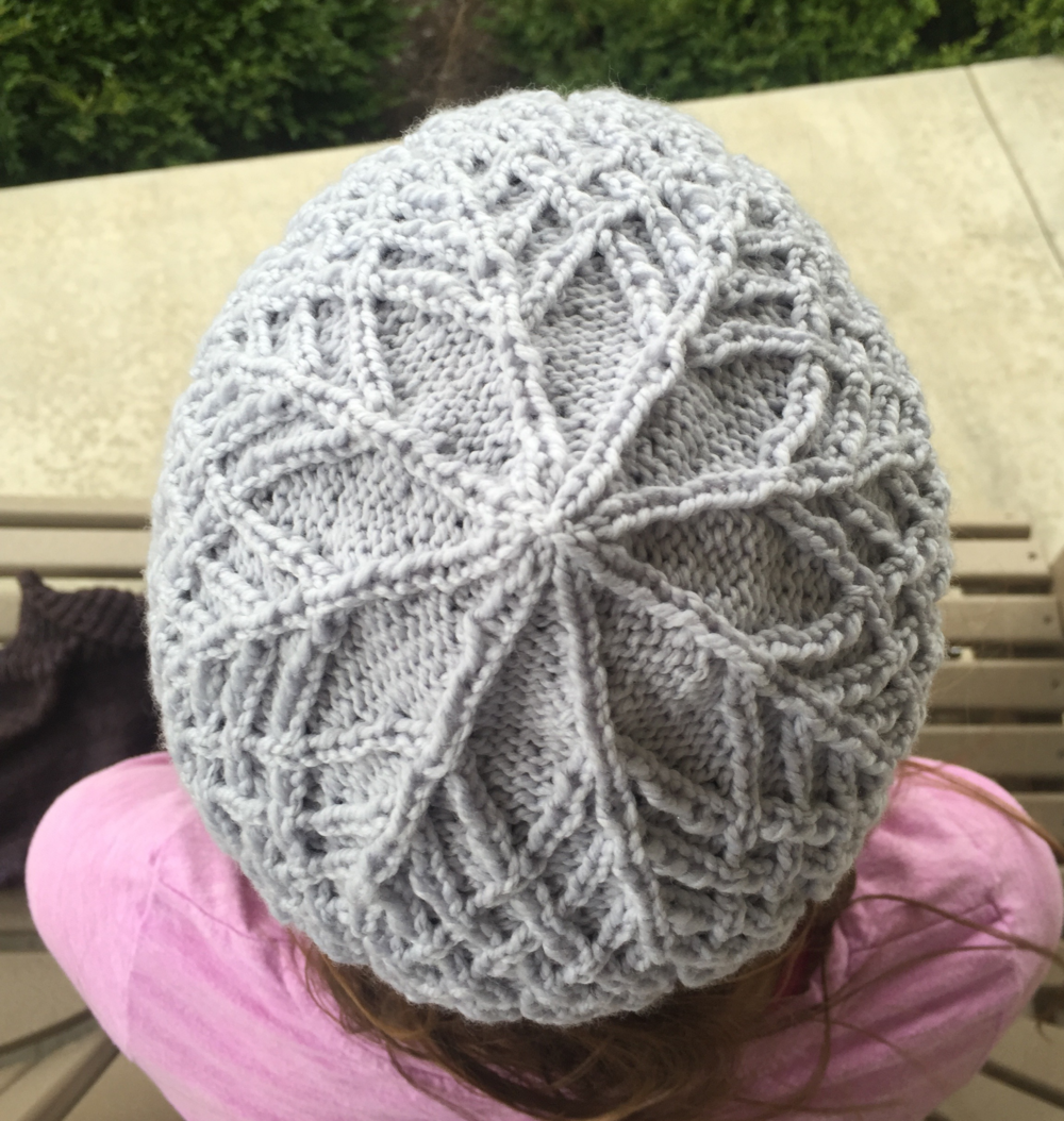 "One of my favorite chemo caps ""Shedir"" found at Knitty.com. I knit this one out of Optima yarn."