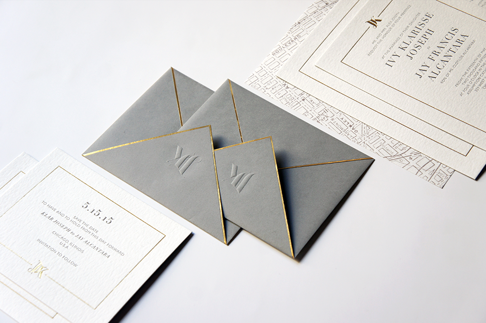 Gold, Grey Wedding Invitation