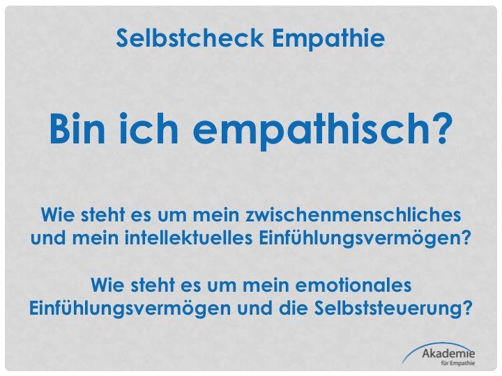 Klicken Sie zur Selbstanalyse Empathie