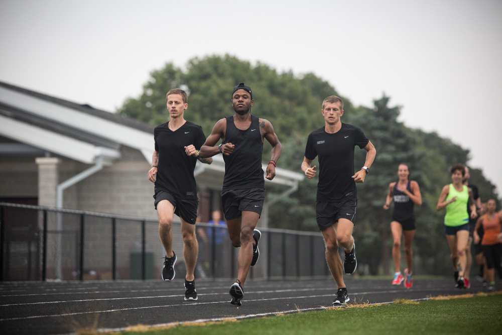 Eric, Ray, and Mike Rutt at the Nike Montauk Project #trackattack 5x1000m workout.