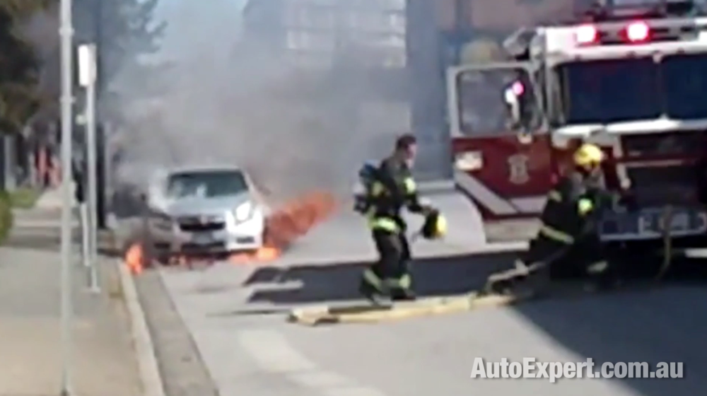 Chevrolet Cruze on fire in the USA