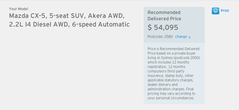 Mazda CX-5 drive-away price