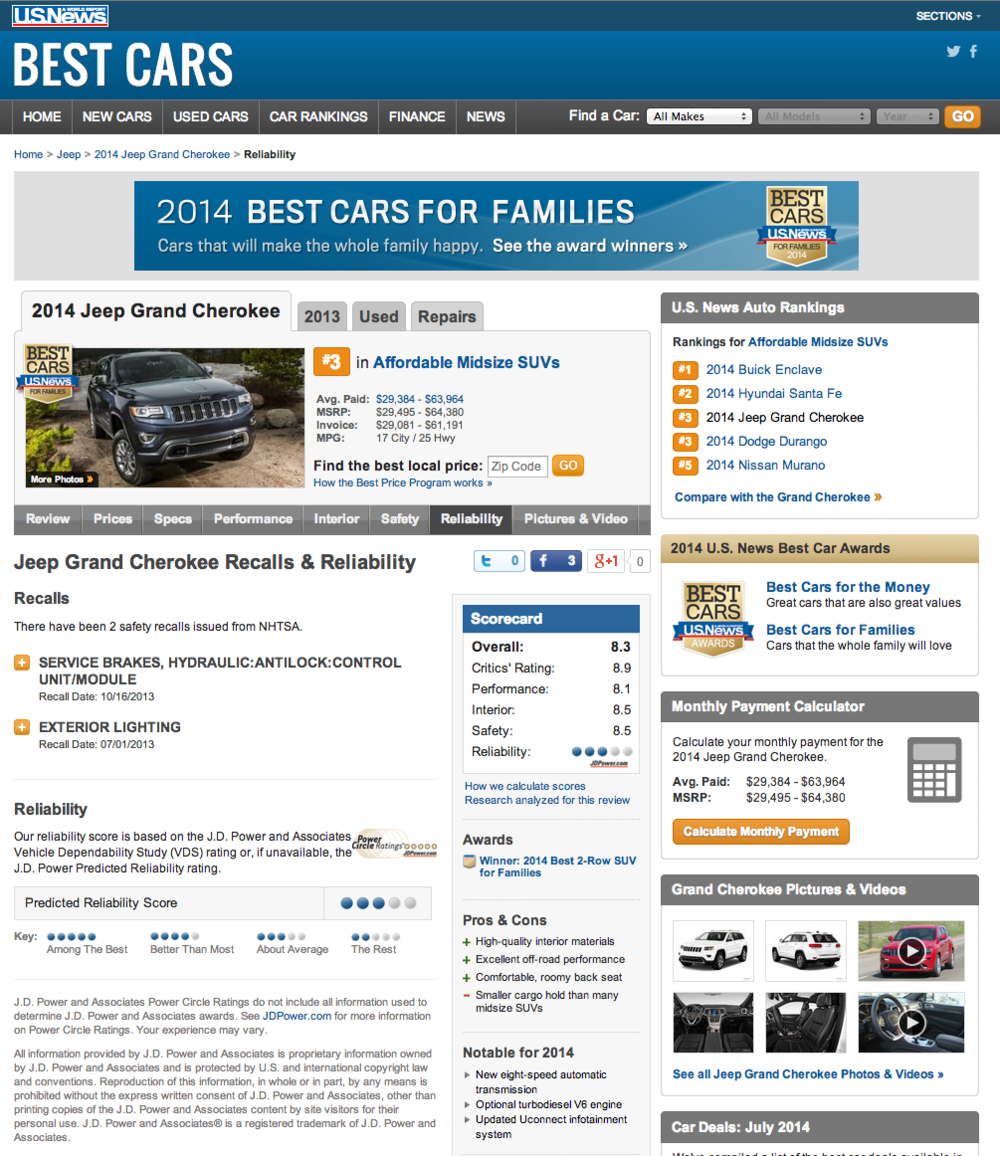US News reliability rankings - Grand Cherokee