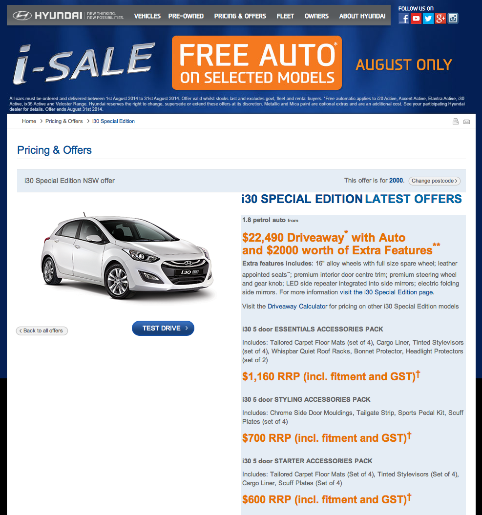 Hyundai's current i30 SE promotion - at the time of writing