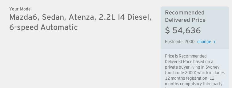 Mazda6 Atenza diesel dirve-away Australian price