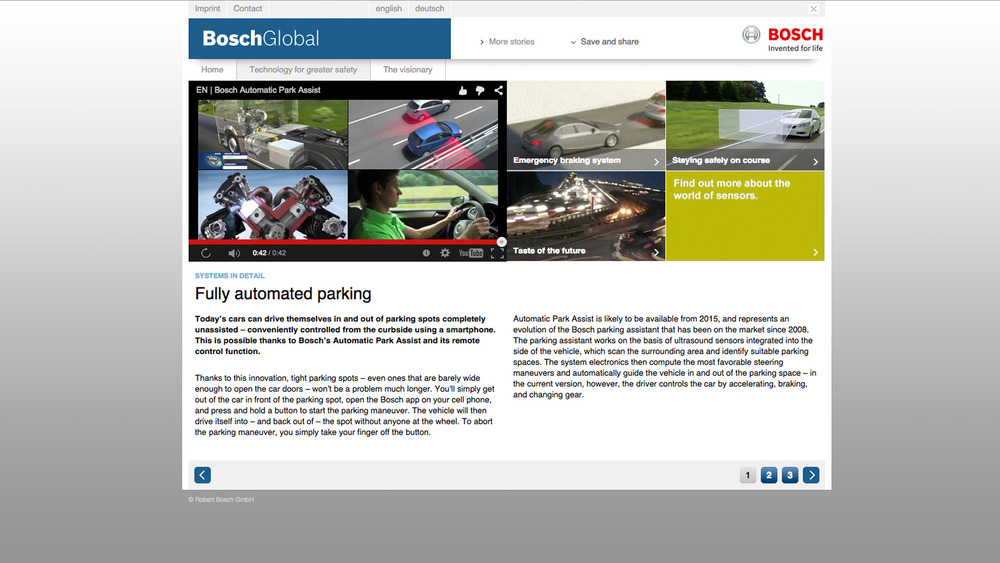 What Bosch says about the future of parking - it will be fully automated very soon (click to enlarge)